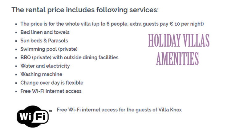 Holiday villa Amenities