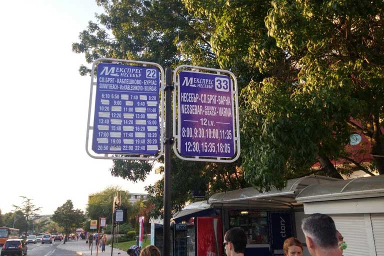 Sunny beach and Nessebar bus timetable signs