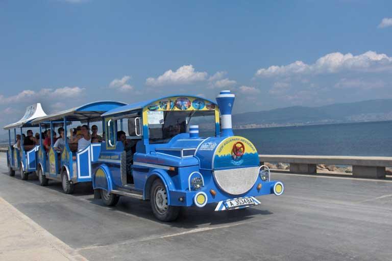 Sunny beach tourist bus-train